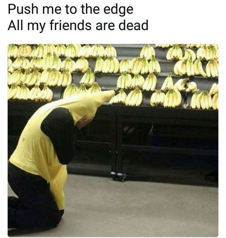 Funny meme of a man in a banana costume crying about dead friends, row of bananas in supermarket.