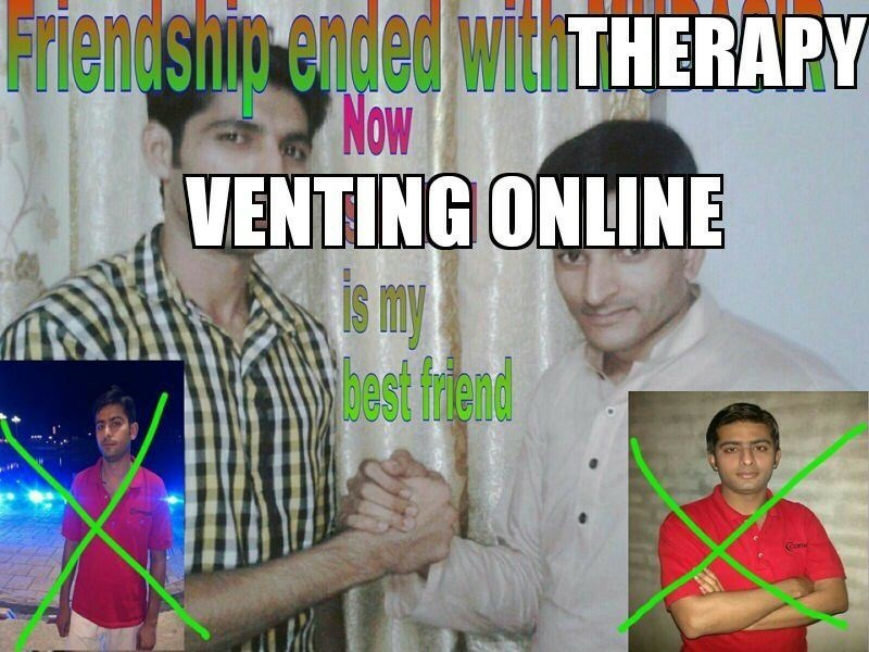 Funny meme about stopping therapy and venting online instead.