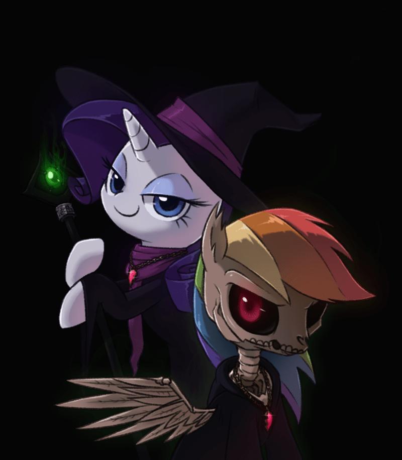 nightmare night rarity rainbow dash spooky scary skeletons raridash doodles - 9084759808