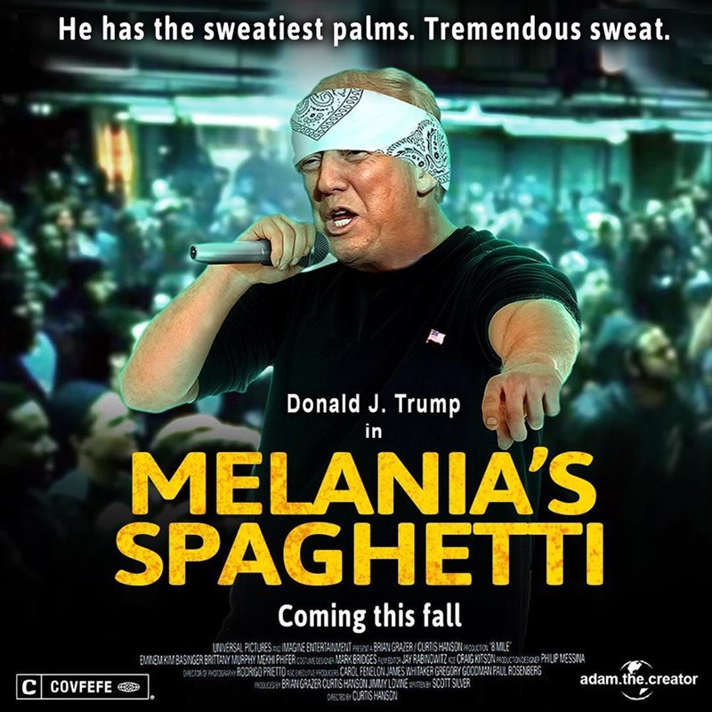 Funny meme of Trump reacting to Eminem's freestyle rap with Melania's Spaghetti meme