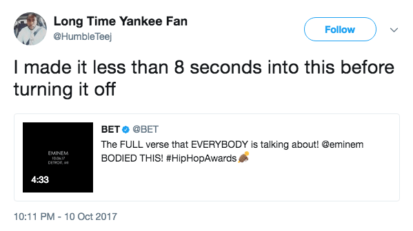 Long Time Yankee Fan makes tweet about how they only listened to Eminem's freestyle tweet anti trump for like 8 seconds