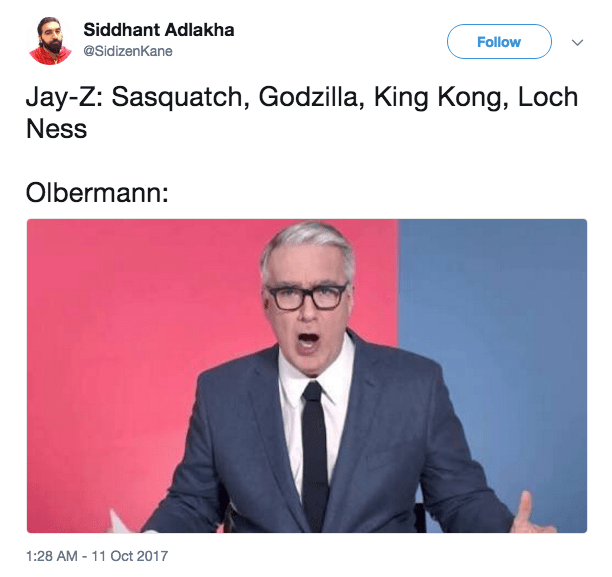 More tweets making fun of Olbermann impressed by rap.