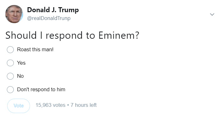 Tweet of Donald Trump survey if he should respond to Eminem
