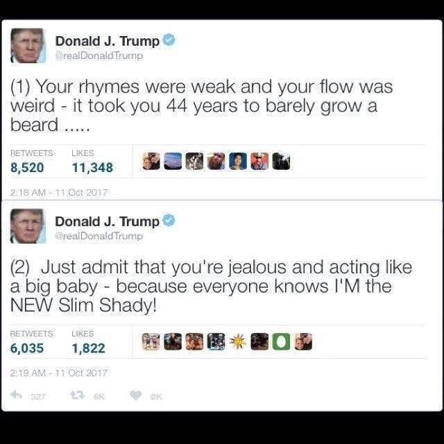Fake Donald Trump tweets of serving Eminem back.