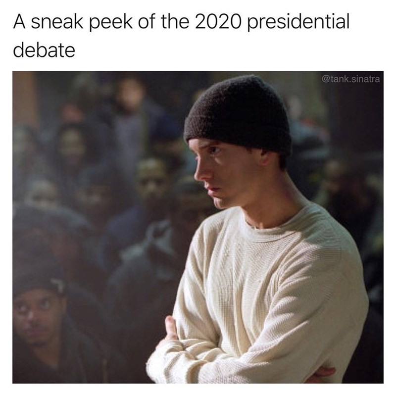 Pic of Eminem in 8 Mile as a sneak peek of the 2020 presidential debates