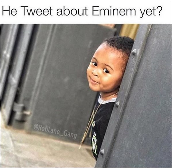 funny meme of a kid checking in to see if Trump tweeted about Eminem yet