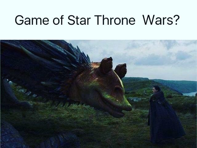 Funny meme of Jar Jar Binks from Star Warsphotoshopped onto face of Dracarys the dragon from game of thrones.