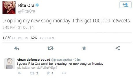 Tweet fail of announcing she is dropping her new song Monday if she gets 100K retweets and it gest nowhere close