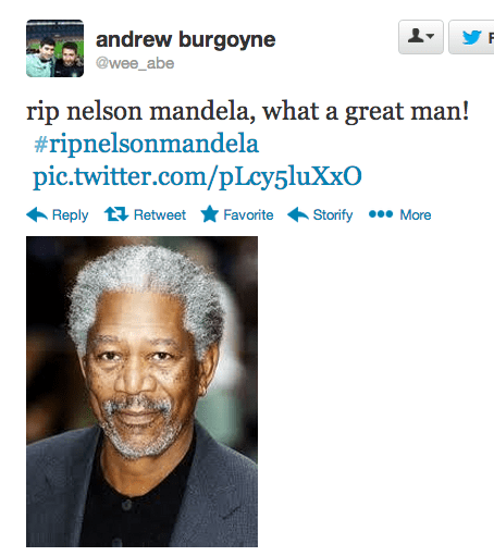 Twitter Fail of RIP Nelson Mandela with pic of Morgan Freeman