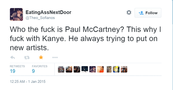 Twitter fail of someone who didn't know who Paul McCartney was and why he was doing a song with Kanye