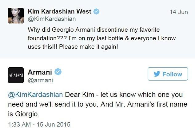 Kim Kardashian Tweet about Armani and misspells his first name