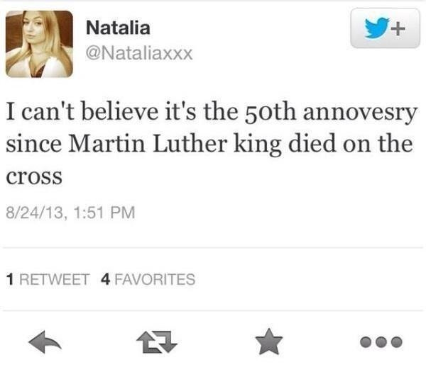 Tweet fail about can't believe it was 50 years since Martin Luther King died on the cross