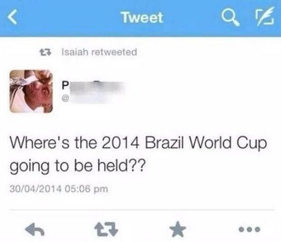 tweet fail of someone asking where teh 2014 Brazil World Cup is going to be held