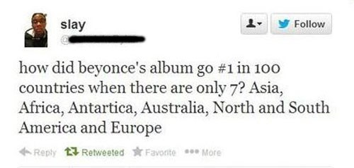 Tweet fail of someone confusing countries and continents