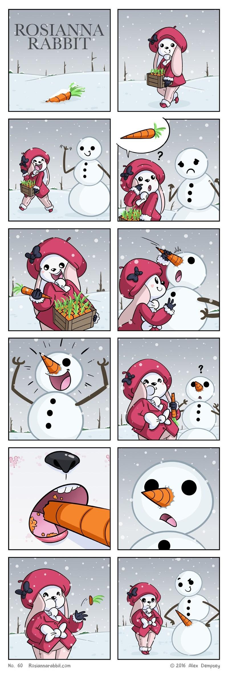 broma del hombre de nieve y la zanahoria rosiannarabbit