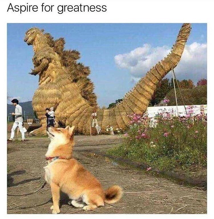 doggo meme about having big aspirations with pic of Shiba Inu posing in front of Godzilla statue