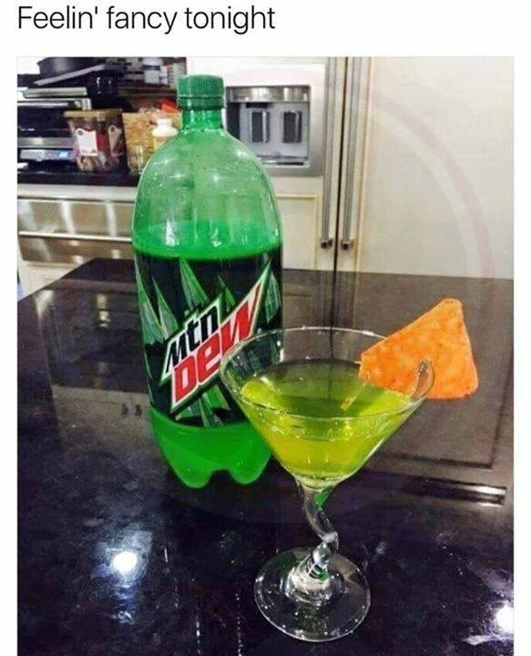 Funny meme about mountain dew.