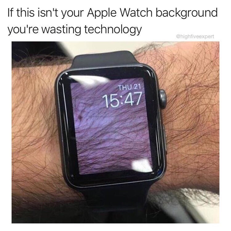 Funny meme about apple watch background.