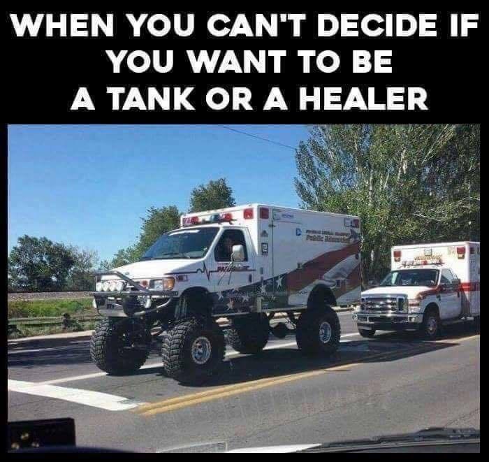 Off road ambulance in meme about when you can't decide if you want to be a tank or a healer