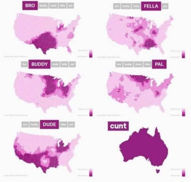 Funny graphic of where various slang terms are used
