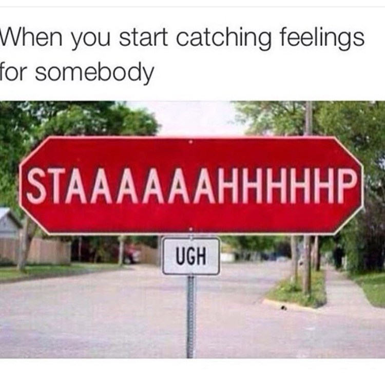 Stahp sign for when you start catching feelings for somebody
