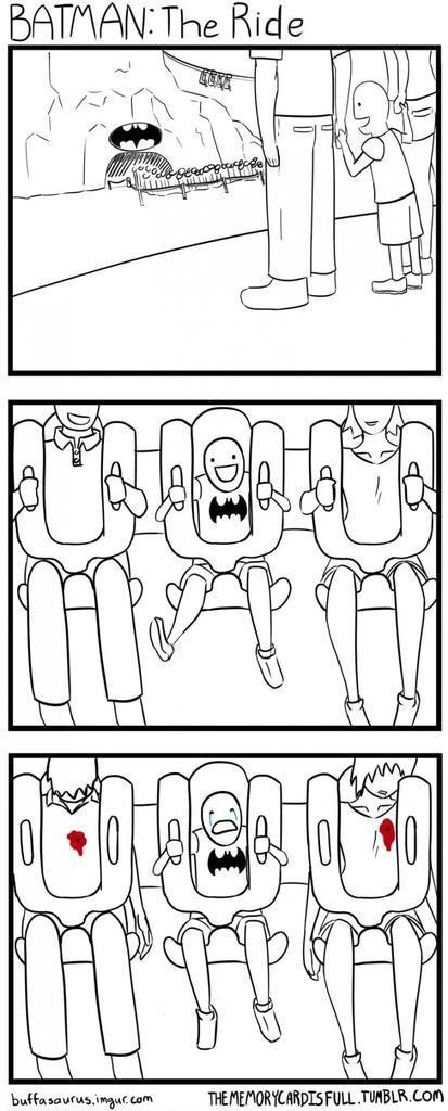 Webcomic of batman the ride and both the kids parents are shot in the ride.