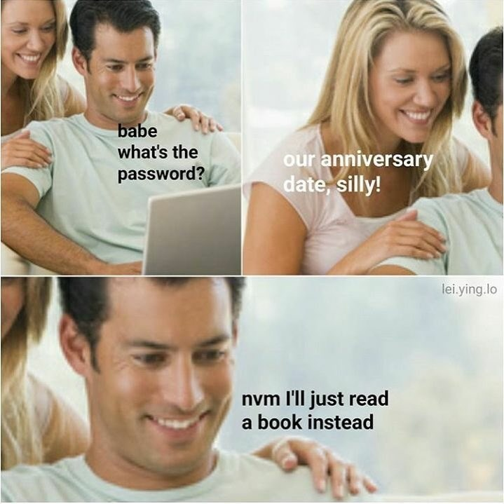 Funny meme about man forgetting his anniversary.