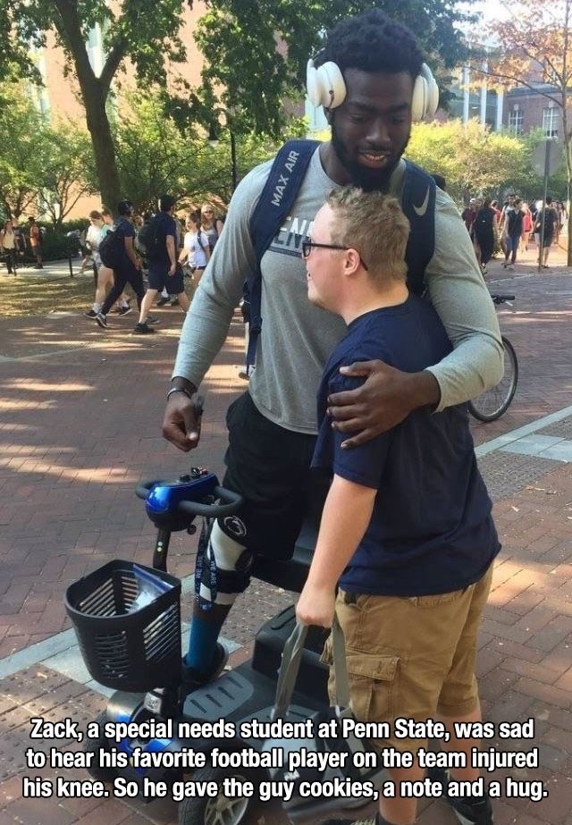 Product - Zack, a special needs student at Penn State, was sad to hear his favorite football player on the team injured his knee. So he gave the guy cookies, a note and a hug. MAX AIR