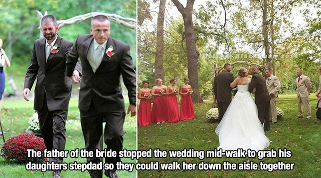 Photograph - The father of the bride stopped the wedding mid-walk tograb his daughters stepdad so they could walk her down the aisle together