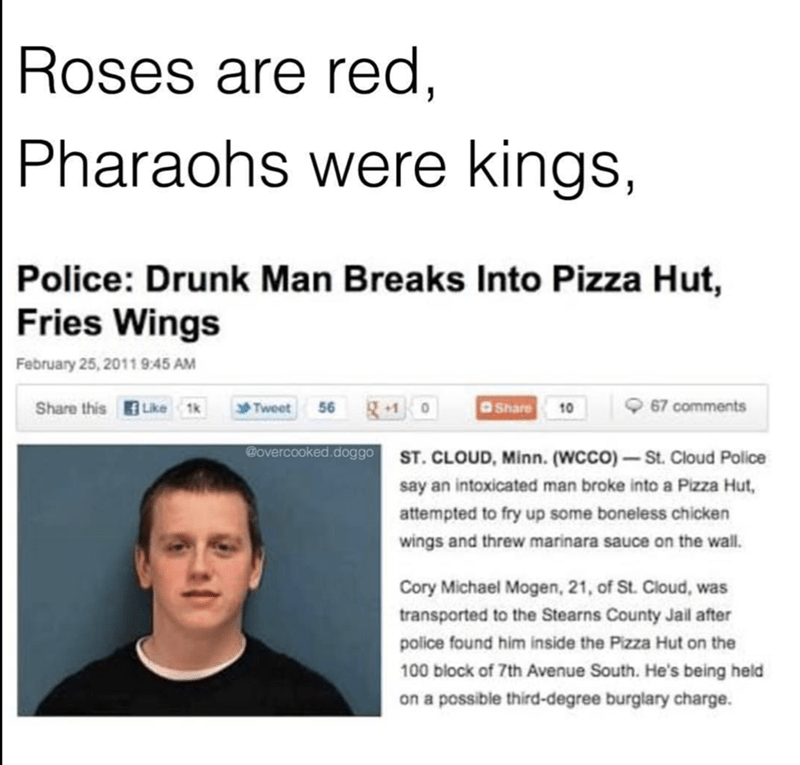 News meme of man that broke into pizza hut to make fried wings