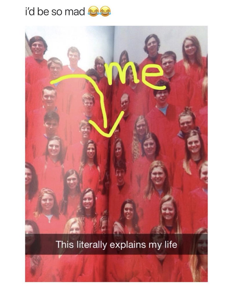 Snapchat of someone in the fold of the yearbook