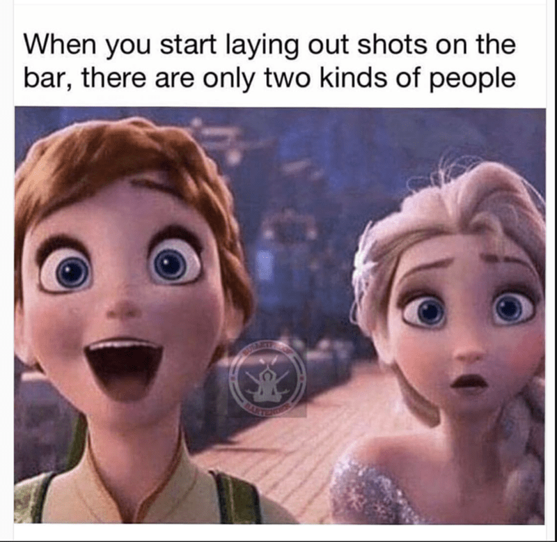 Frozen meme about the two different kind of people when they start laying out shots