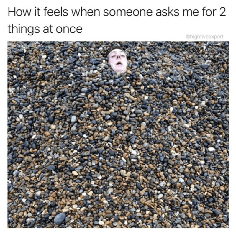 Man covered in stones as how it feels when someone ask me to 2 things at once.