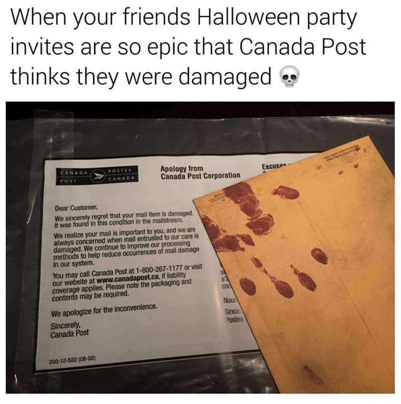 Funny meme about amazing Halloween invitations.
