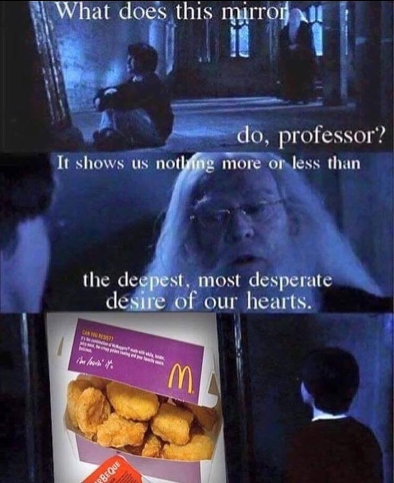 Funny meme about Harry Potter and chicken nuggets.