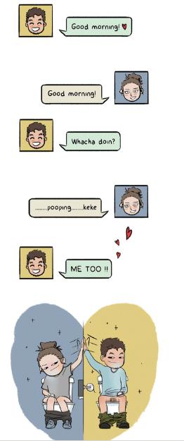 webcomic - Text - Good morning! Good morning Whacha doin? pooping.keke ΜΕ TO !