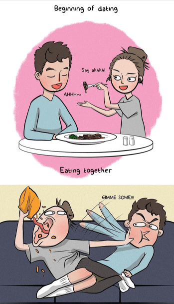 webcomic - Cartoon - Beginning of dating Say ahhhh AHHH Eating together GIMME SOME