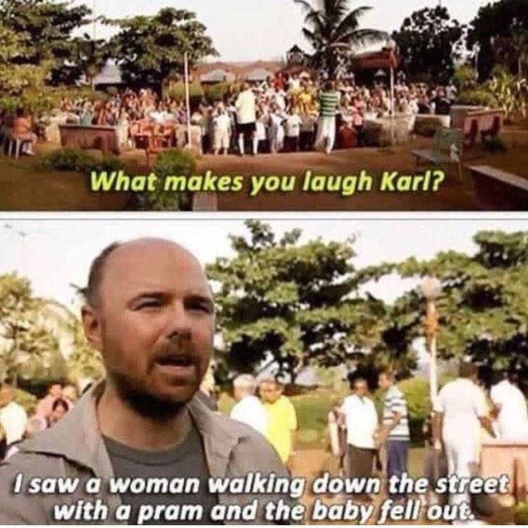 Funny moment about Karl Pilkington laughing at a baby falling out of its carriage.