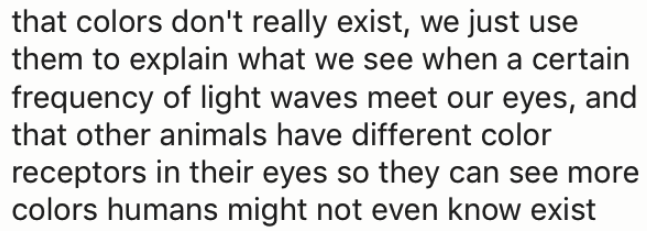 wtf facts - Text - that colors don't really exist, we just use them to explain what we see when a certain frequency of light waves meet our eyes, and that other animals have different color receptors in their eyes so they can see more colors humans might not even know exist