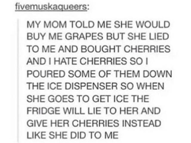 Text - fivemuskaqueers: MY MOM TOLD ME SHE WOULD BUY ME GRAPES BUT SHE LIED TO ME AND BOUGHT CHERRIES AND I HATE CHERRIES SO POURED SOME OF THEM DOWN THE ICE DISPENSER SO WHEN SHE GOES TO GET ICE THE FRIDGE WILL LIE TO HER AND GIVE HER CHERRIES INSTEAD LIKE SHE DID TO ME
