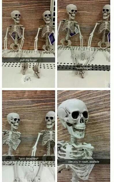 skeleton meme - Photograph - pull my finger pulls finger *arm detaches see you in court, asshole