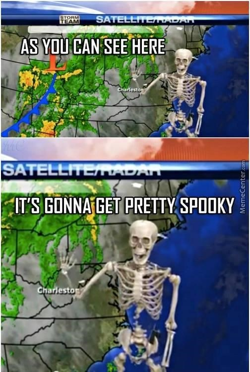 skeleton meme - Organism - STORM TEAM SATELLITEMADAN AS YOU CAN SEE HERE Charleston SATELLITERADAN ITS GONNA GET PRETTY SPOOKY Charlesto MemeCenter.com