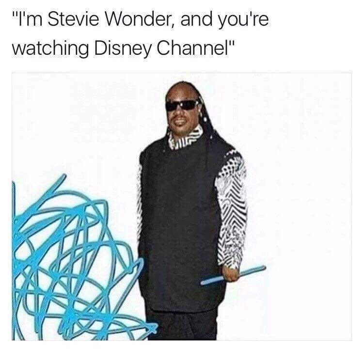Funny meme about Stevie Wonder and Disney channel.