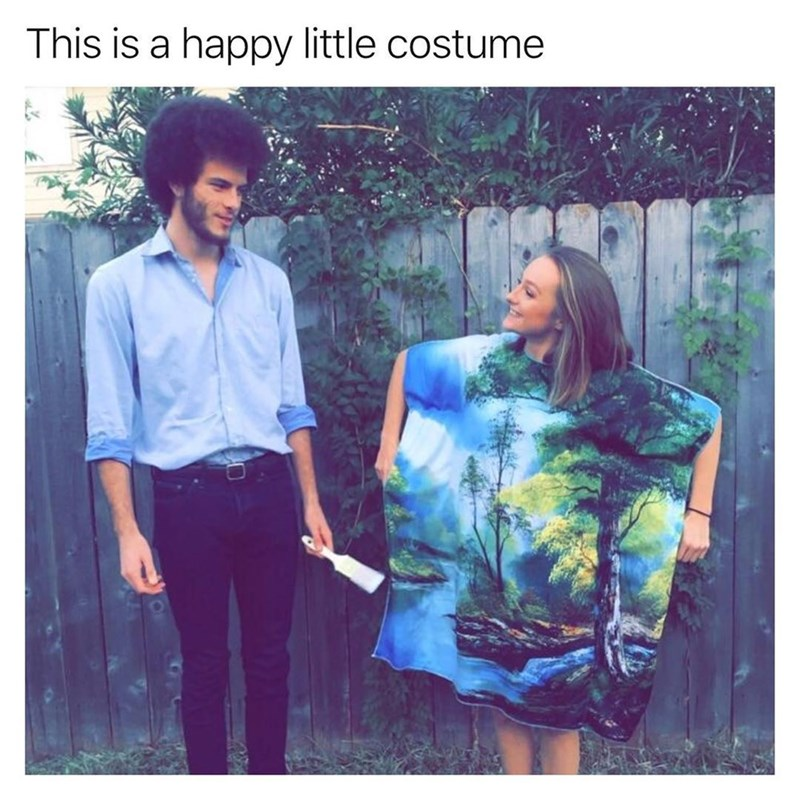 Funny meme about bob ross halloween costume.