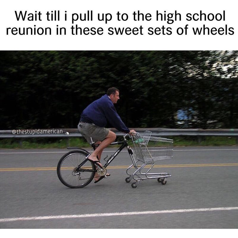 Funny meme about weird bike with a shoppoing cart attached.