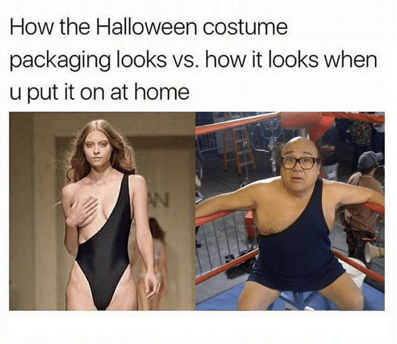 Meme about halloween costime packaging VS how it looks when u put it on at home, with model and Frank Reynolds played by Danny Devito in a one shoulder band leotard one piece