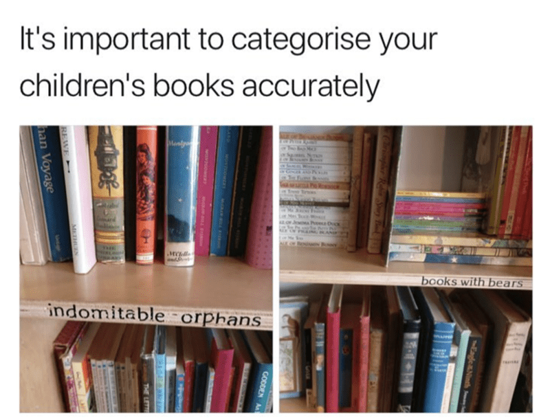 Meme about how children's books are either orphans or about bears
