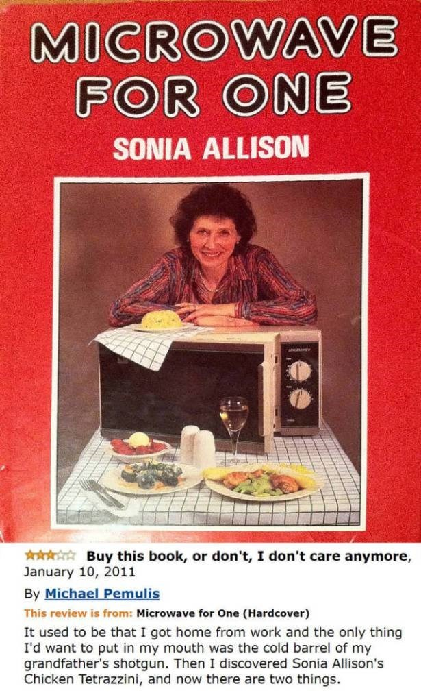 Hilarious review by Micheal Pemulis of Sonia Allison's book Microwave for One
