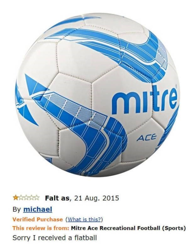 amazon review for a ball that arrived flat