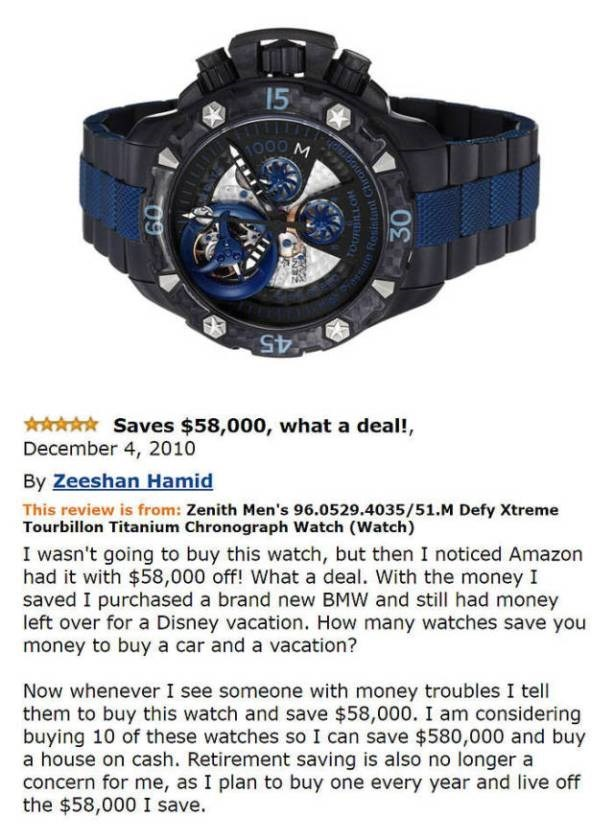 Man that got $58 coupon on a watch and got rich off that money according to his Amazon review